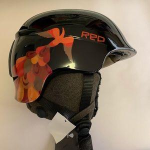 RED Woman's Aletta Ski Snow Helmet Black Firebird
